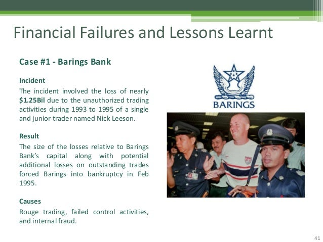 barings bank plc leeson s lessons Nick leeson's trading strategy stephen j browna, onno w steenbeekb, a stern school of business, new york university,  trader of barings bank in singapore.