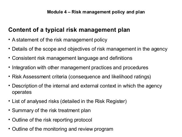 Risk assessment & policy.