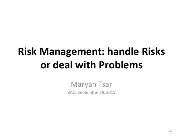 risk management problem set 1 Prepare a 900- to 1,250-word paper on a current risk management issue at your facility • include the steps that have been set in place or discussed to address the.