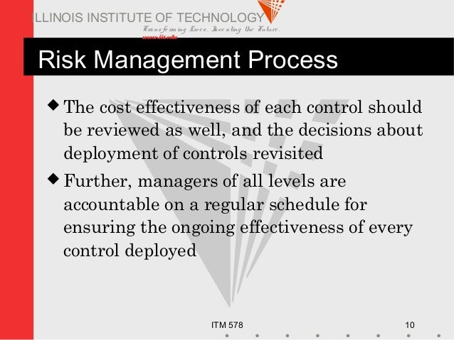 Transfo rm ing Live s. Inve nting the Future . www.iit.edu ITM 578 10 ILLINOIS INSTITUTE OF TECHNOLOGY Risk Management Pro...