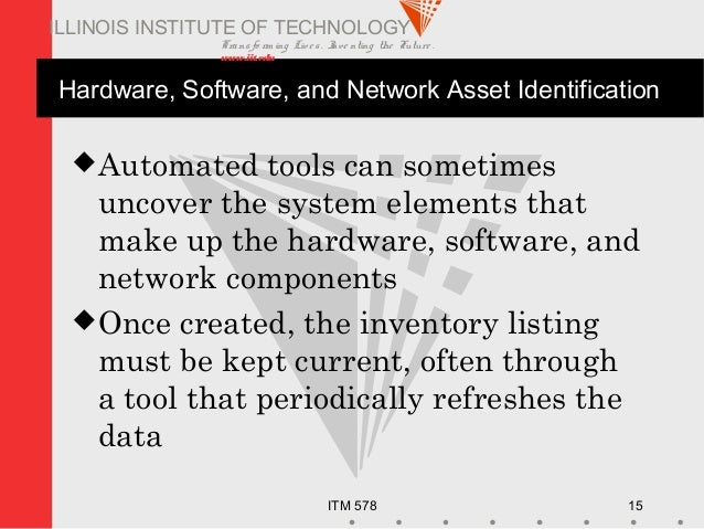 Transfo rm ing Live s. Inve nting the Future . www.iit.edu ITM 578 15 ILLINOIS INSTITUTE OF TECHNOLOGY Hardware, Software,...