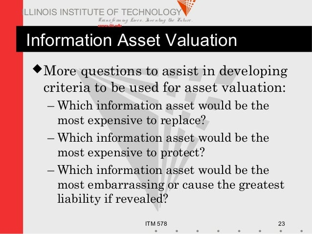 Transfo rm ing Live s. Inve nting the Future . www.iit.edu ITM 578 23 ILLINOIS INSTITUTE OF TECHNOLOGY Information Asset V...