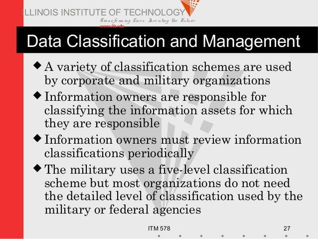 Transfo rm ing Live s. Inve nting the Future . www.iit.edu ITM 578 27 ILLINOIS INSTITUTE OF TECHNOLOGY Data Classification...
