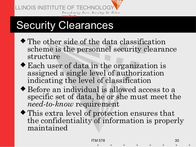 Transfo rm ing Live s. Inve nting the Future . www.iit.edu ITM 578 30 ILLINOIS INSTITUTE OF TECHNOLOGY Security Clearances...