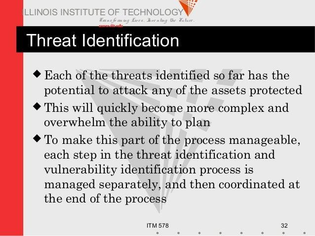 Transfo rm ing Live s. Inve nting the Future . www.iit.edu ITM 578 32 ILLINOIS INSTITUTE OF TECHNOLOGY Threat Identificati...