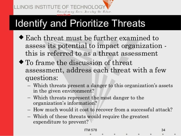 Transfo rm ing Live s. Inve nting the Future . www.iit.edu ITM 578 34 ILLINOIS INSTITUTE OF TECHNOLOGY Identify and Priori...