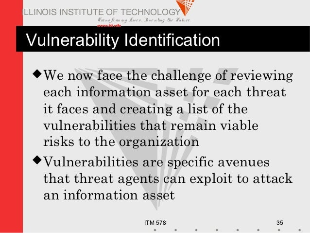 Transfo rm ing Live s. Inve nting the Future . www.iit.edu ITM 578 35 ILLINOIS INSTITUTE OF TECHNOLOGY Vulnerability Ident...