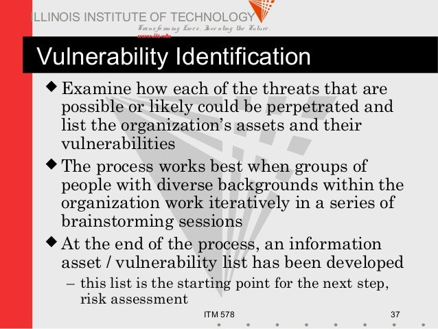 Transfo rm ing Live s. Inve nting the Future . www.iit.edu ITM 578 37 ILLINOIS INSTITUTE OF TECHNOLOGY Vulnerability Ident...