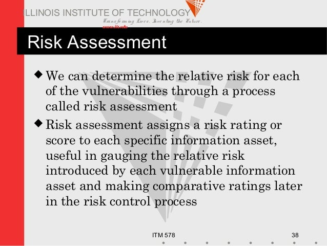 Transfo rm ing Live s. Inve nting the Future . www.iit.edu ITM 578 38 ILLINOIS INSTITUTE OF TECHNOLOGY Risk Assessment  W...