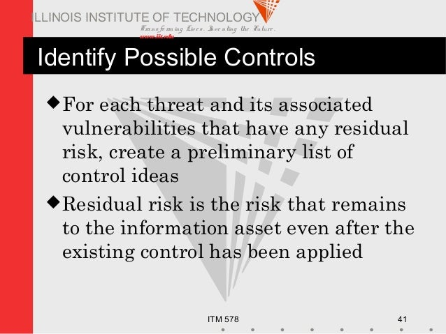 Transfo rm ing Live s. Inve nting the Future . www.iit.edu ITM 578 41 ILLINOIS INSTITUTE OF TECHNOLOGY Identify Possible C...