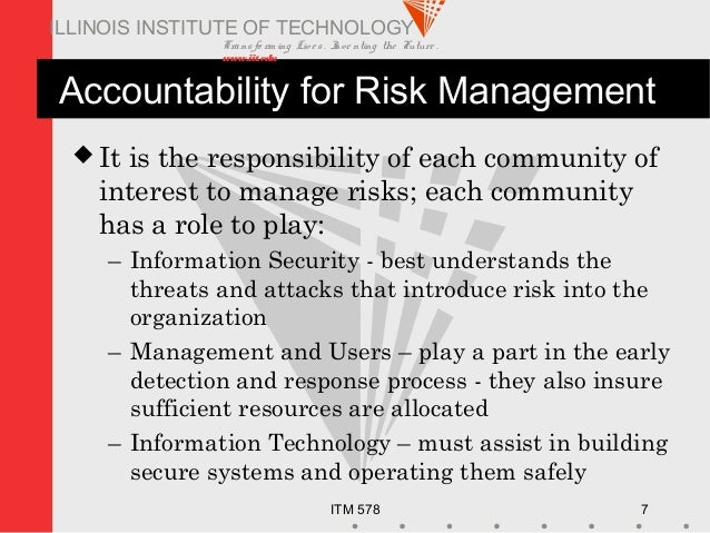 Transfo rm ing Live s. Inve nting the Future . www.iit.edu ITM 578 7 ILLINOIS INSTITUTE OF TECHNOLOGY Accountability for R...