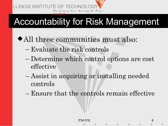 Transfo rm ing Live s. Inve nting the Future . www.iit.edu ITM 578 8 ILLINOIS INSTITUTE OF TECHNOLOGY Accountability for R...