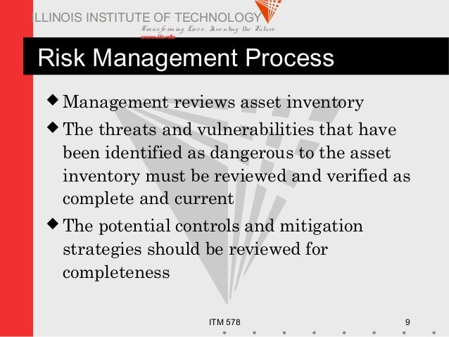 Transfo rm ing Live s. Inve nting the Future . www.iit.edu ITM 578 9 ILLINOIS INSTITUTE OF TECHNOLOGY Risk Management Proc...