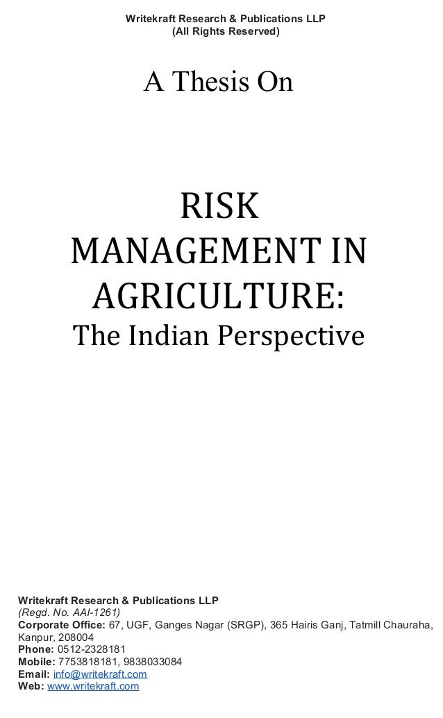 Thesis on agriculture in india
