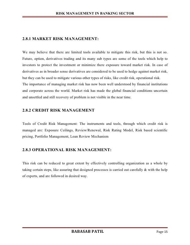 credit risk management in banks dissertation