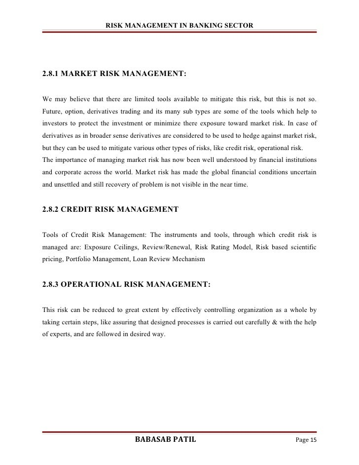 project report on credit risk management in banks