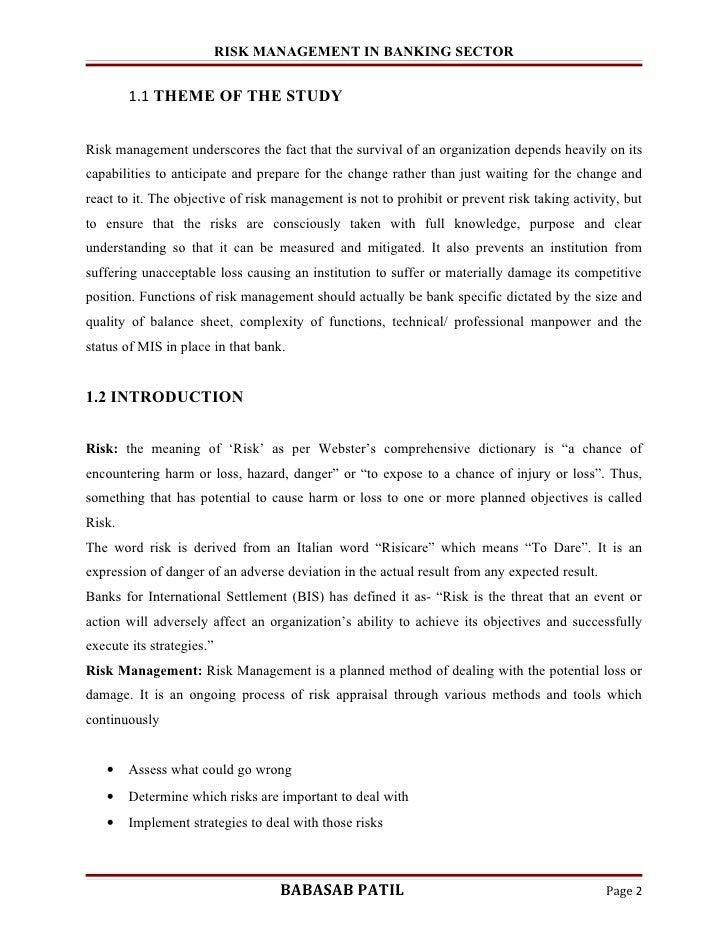 Dissertation Report On Risk Management In Banks case