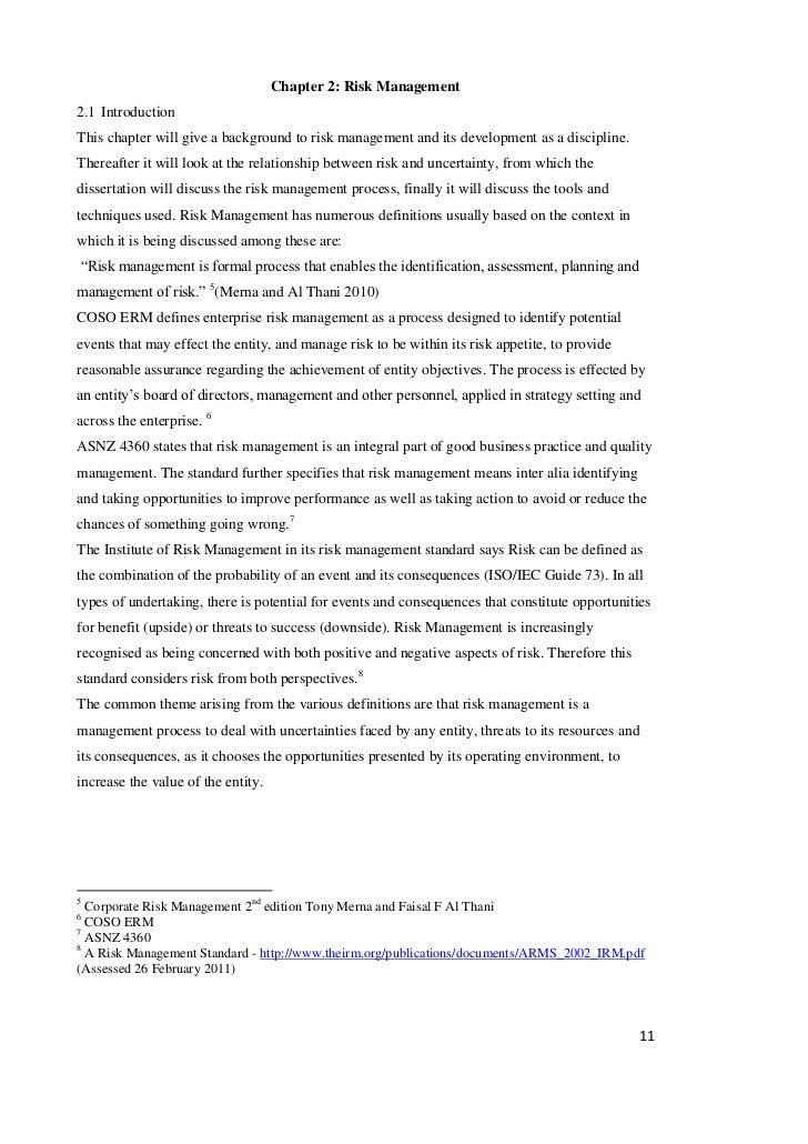 Dissertation on enterprise risk management
