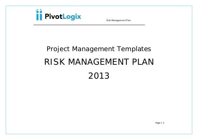 PMP Risk Management plan template – Risk Management Plan Example Template