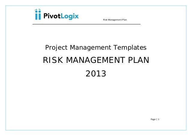 Risk Management PlanProject Management TemplatesRISK MANAGEMENT PLAN ...