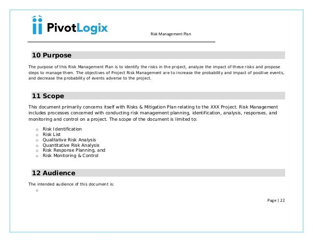 PMP Risk Management plan template – Risk and Mitigation Template