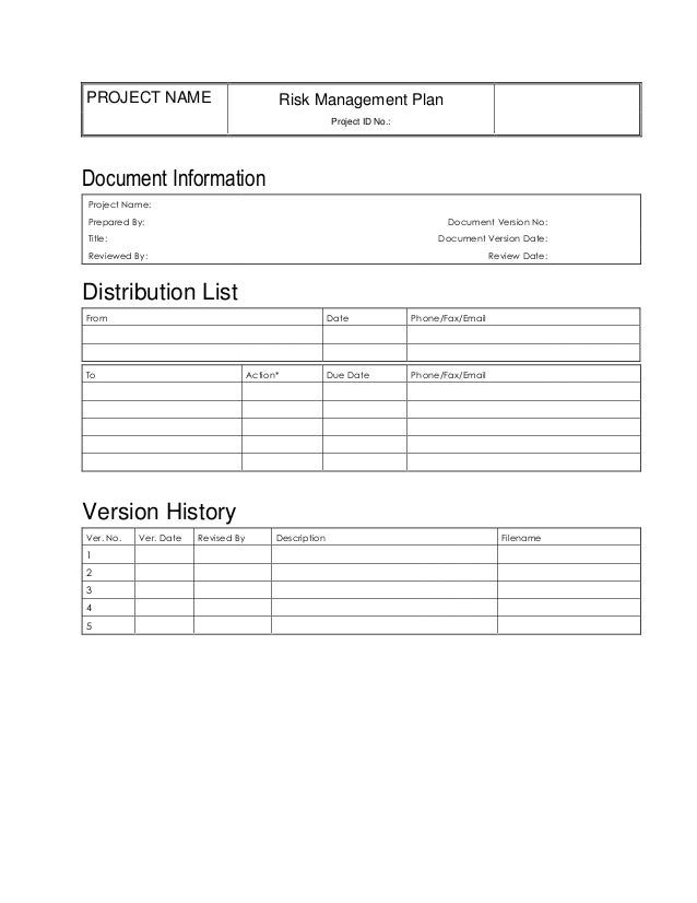 Risk Management Plan Template Doc