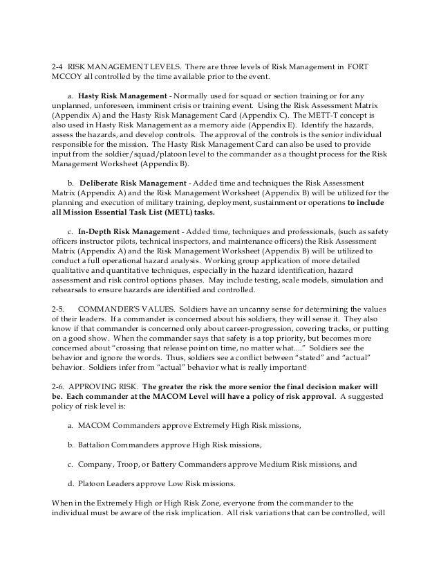 Risk management primer – Risk Management Worksheet