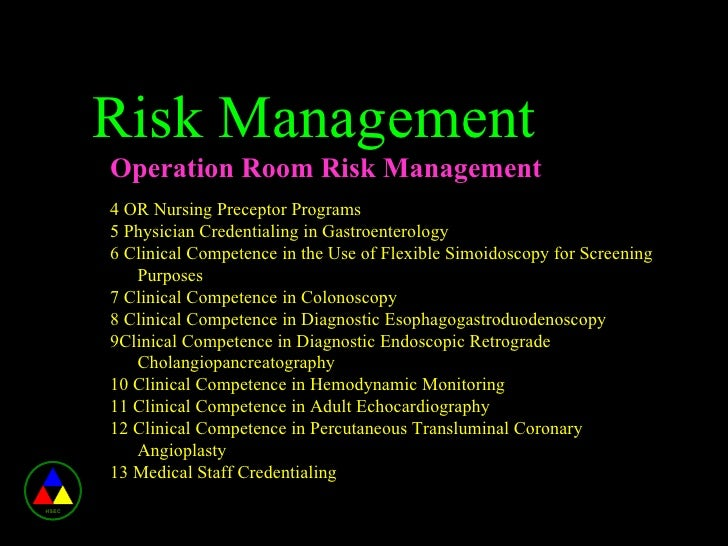risk management in nursing This paper outlines the concept of clinical risk management (crm), a vital component in health service providers' total quality strategies it is argued that, owing to the nature of health-care professions, and the introduction of legislative changes, crm has gained prominence as a proactive quality management strategy.