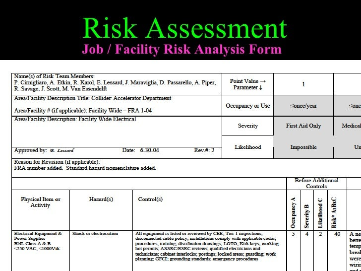 Sample Health Risk Assessment Risk Assessment Job Facility Risk