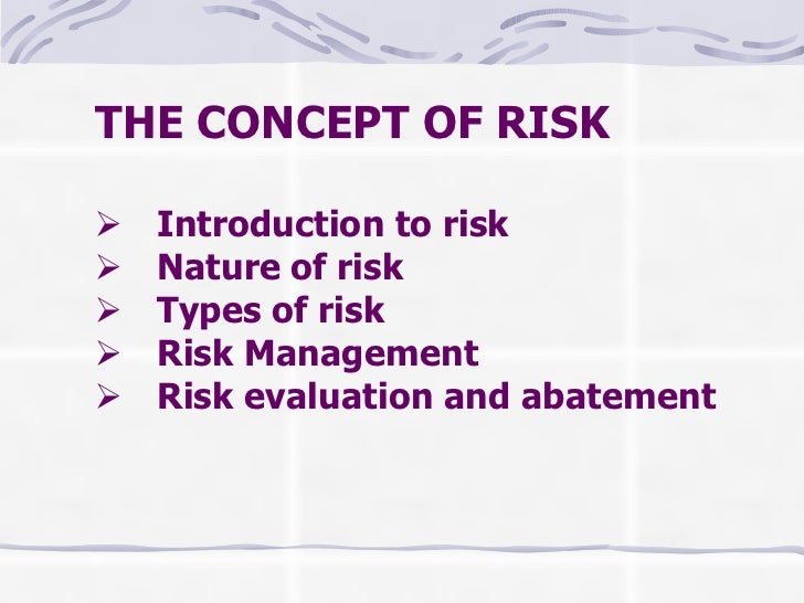 THE CONCEPT OF RISK     Introduction to risk    Nature of risk    Types of risk    Risk Management    Risk...