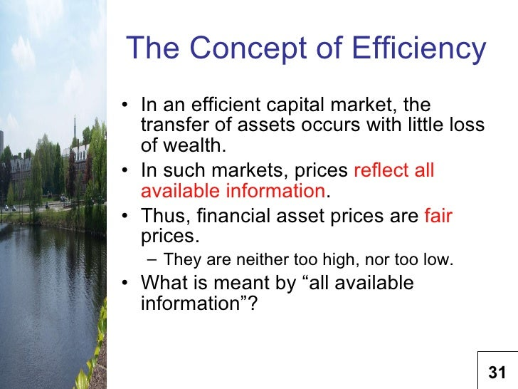 efficiency measures of capital market Analysis of capital market efificiency and the efficient market hypothesis 2763 words 12 pages capital market efficiency is concerned with assessing the movements of security prices over different time horizons.