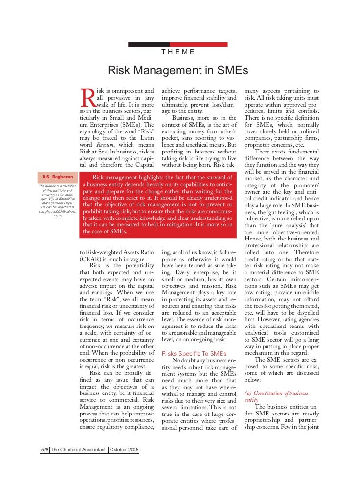 THEME                                       Risk Management in SMEs                           R                           ...