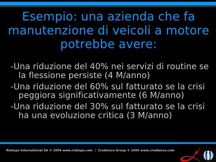 Esempio: una azienda che fa manutenzione di veicoli a motore        potrebbe avere:   -Una riduzione del 40% nei servizi d...