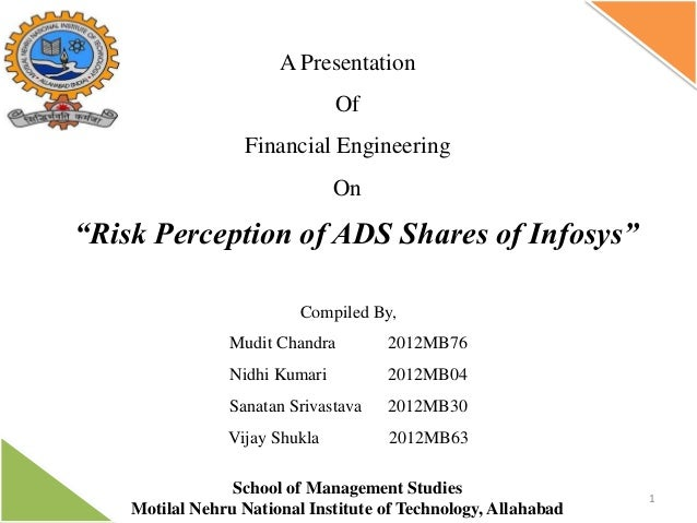 """A Presentation Of Financial Engineering  On  """"Risk Perception of ADS Shares of Infosys"""" Compiled By, Mudit Chandra  2012MB..."""