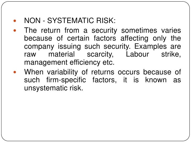 systematic risk unsystematic risk