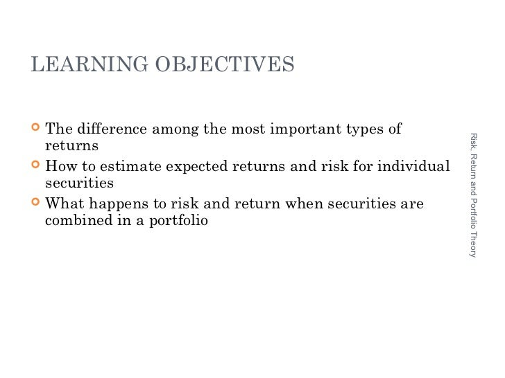 portfolio risk and return Chapter 4: risk, return and portfolio theory try the following multiple choice questions to test your knowledge of this chapter once you have answered the questions, click on 'submit answers for grading' to get your results.