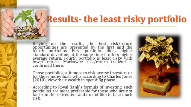 Results- the least risky portfolio • Relying on the results, the best risk/return opportunities are presented by the first...