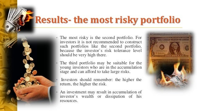 Results- the most risky portfolio • The most risky is the second portfolio. For investors it is not recommended to constru...