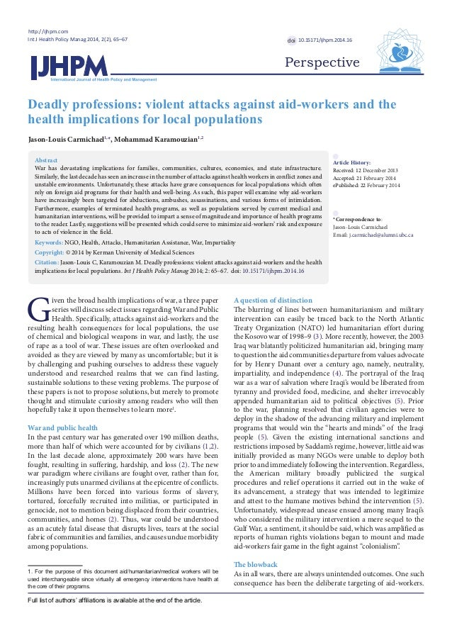 Deadly professions: violent attacks against aid-workers and the health implications for local populations http://ijhpm.com...