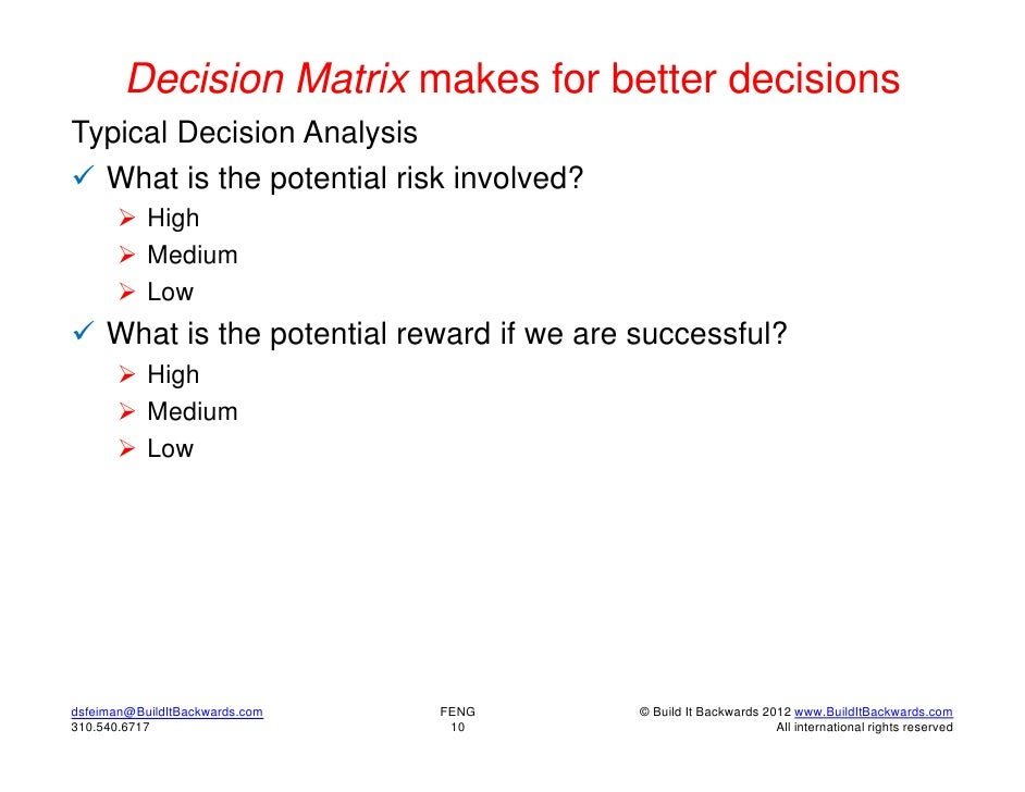 Decision Matrix makes for better decisionsTypical Decision Analysis What is the potential risk involved?        High    ...
