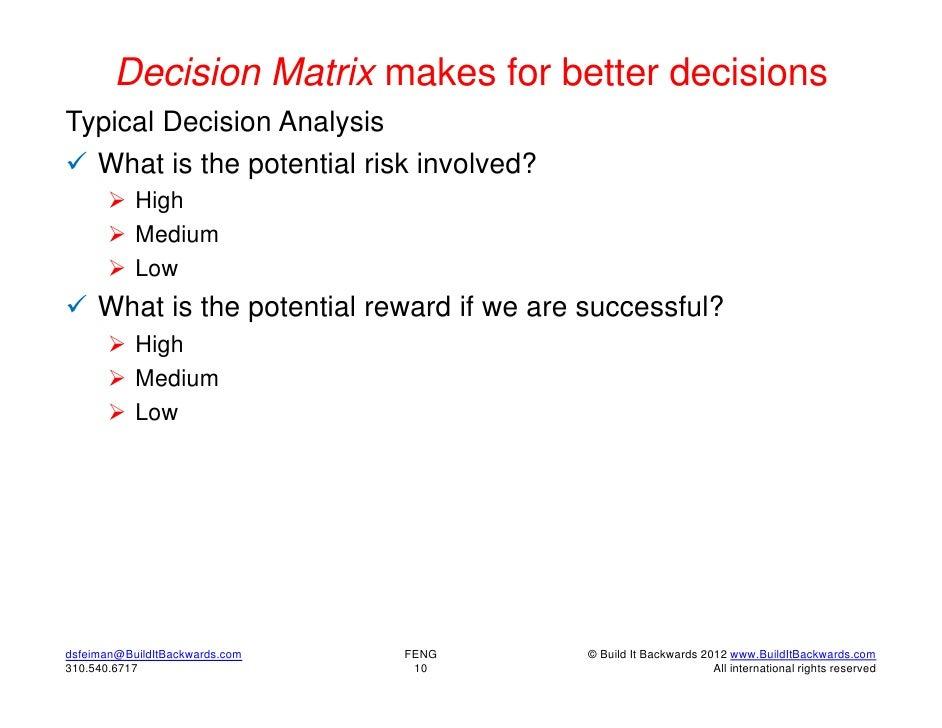 Outsouring risks and rewards matrix