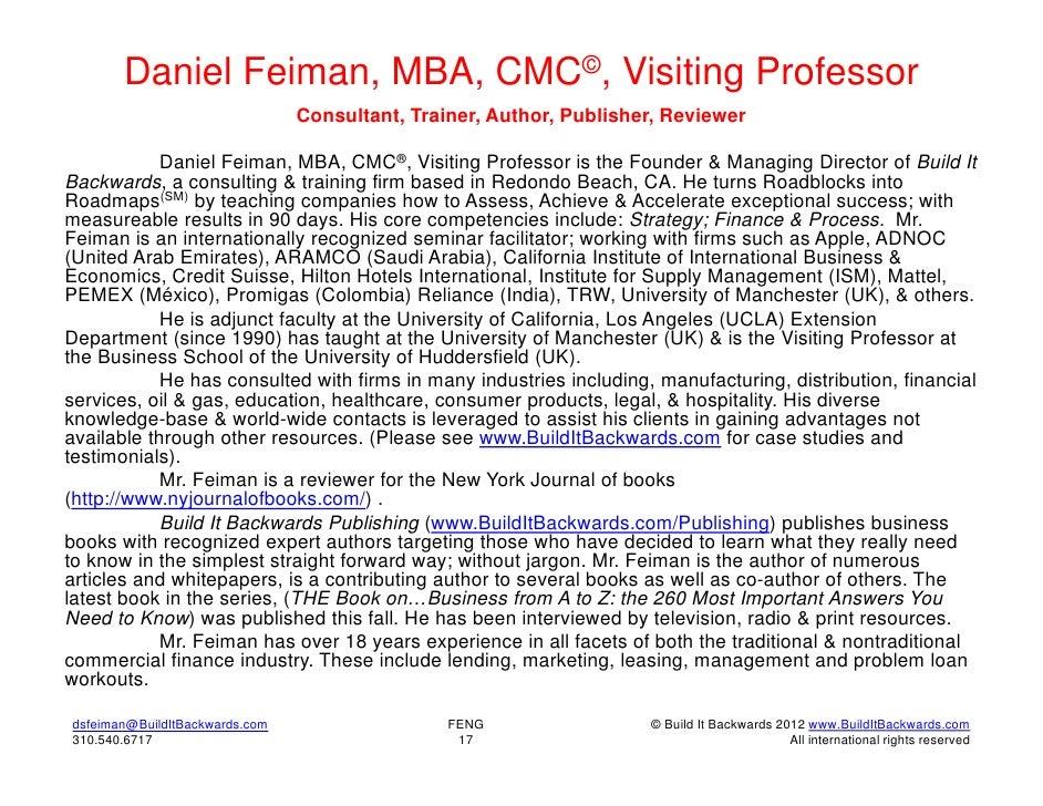 Daniel Feiman, MBA, CMC©, Visiting Professor                                Consultant, Trainer, Author, Publisher, Review...