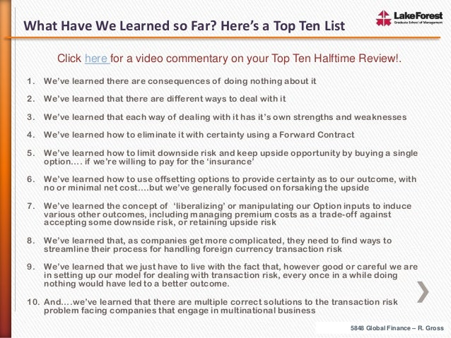 What Have We Learned so Far? Here's a Top Ten List Click here for a video commentary on your Top Ten Halftime Review!. 1. ...
