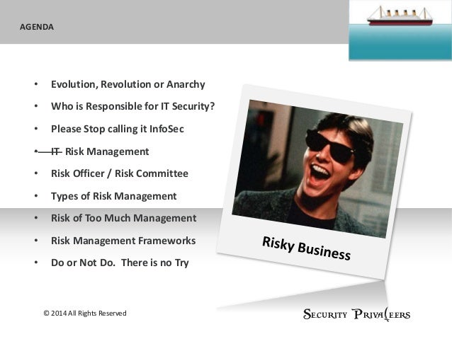 Sub headline AGENDAAGENDA © 2014 All Rights Reserved Security Priva(eers • Evolution, Revolution or Anarchy • Who is Respo...
