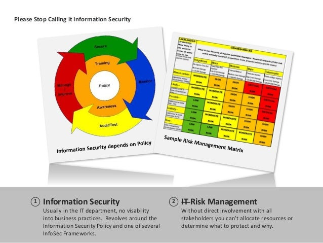 Please Stop Calling it Information Security Information Security Usually in the IT department, no visability into business...