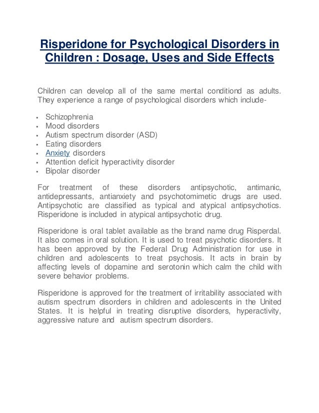 Risperidone Use In Children With Autism >> Risperidone For Psychological Disorders In Children