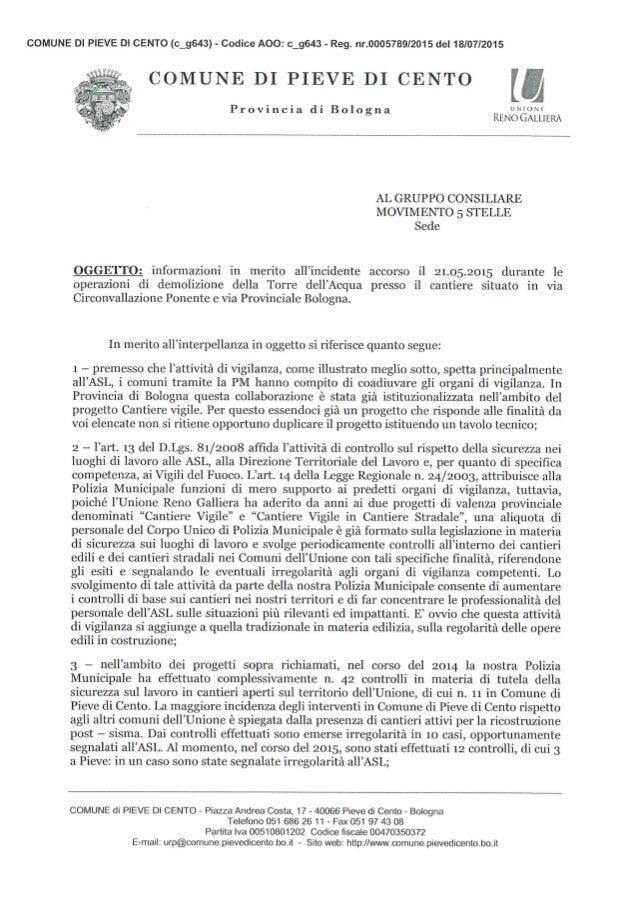 COMUNE DI PIEVE DI CENTO (c__g643) - Codice AOO:  c_g643 - Reg.  nr.0OO5789/2015 del 18/07/2015  COMUNE DI PIEVE DI CENTO ...