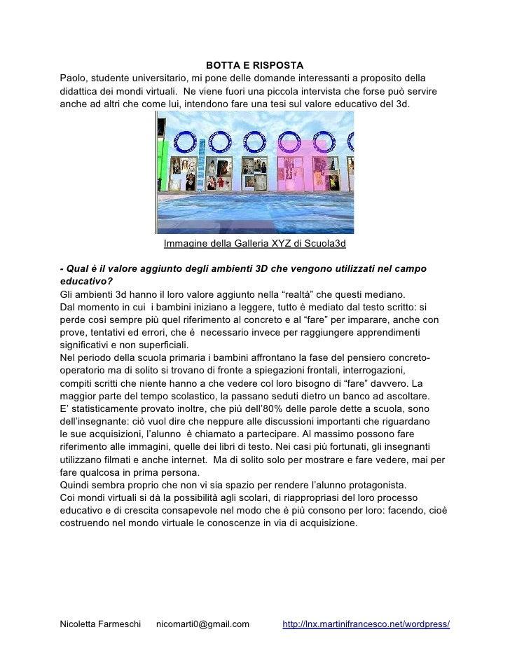 Utilizzo didattico delle ricostruzioni archeologiche in Second Life                                         Ossia         ...
