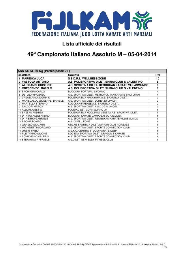 Lista ufficiale dei risultati 49° Campionato Italiano Assoluto M – 05-04-2014 (c)sportdata GmbH & Co KG 2000-2014(2014-04-...