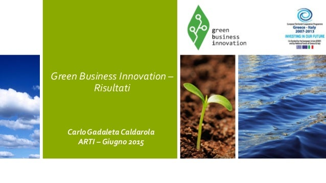 Green Business Innovation – Risultati Carlo Gadaleta Caldarola ARTI – Giugno 2015
